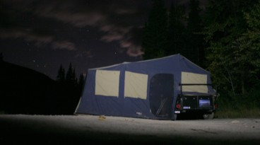 One tripod-less blurry image of camp at night. It was well below zero even in September.